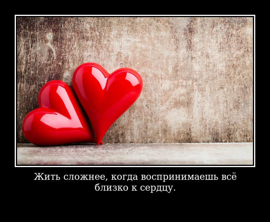 """На фото изображен статус """"Жить сложнее, когда воспринимаешь всё близко к сердцу""""."""