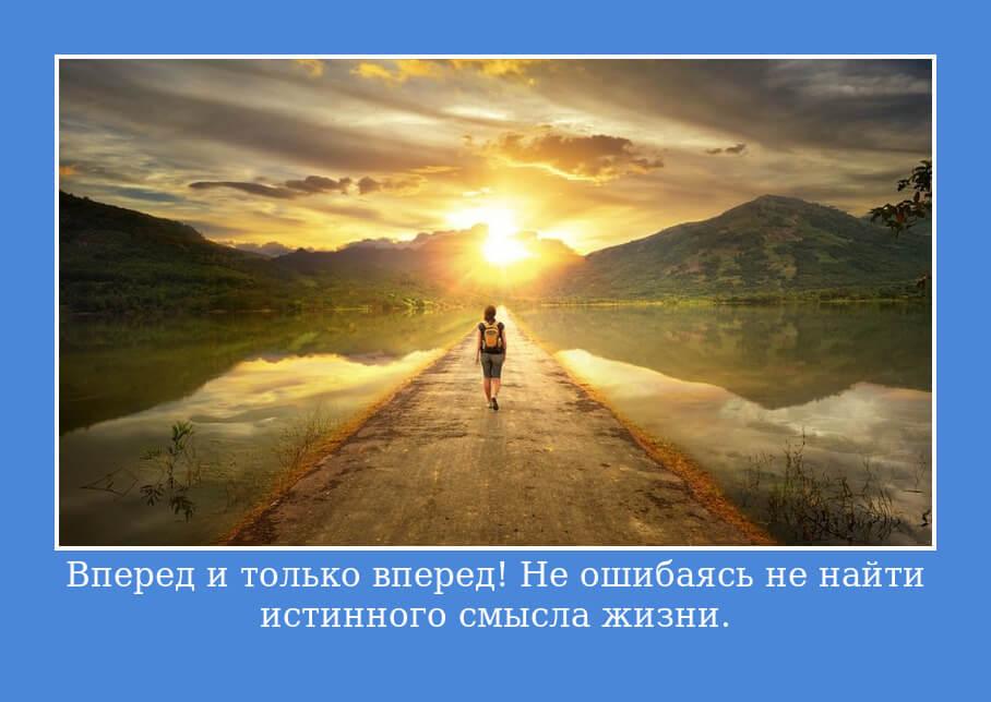 """На фото изображен статус """"Вперед и только вперед! Не ошибаясь не найти истинного смысла жизни""""."""
