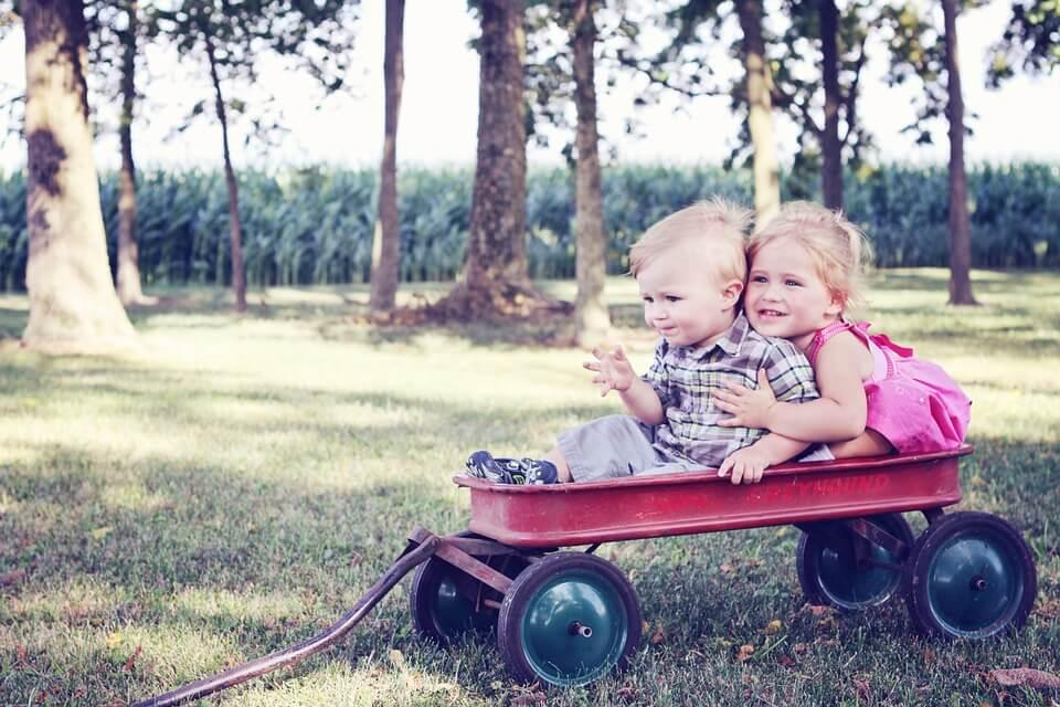 На фото изображены дети, которые катаются на возу.