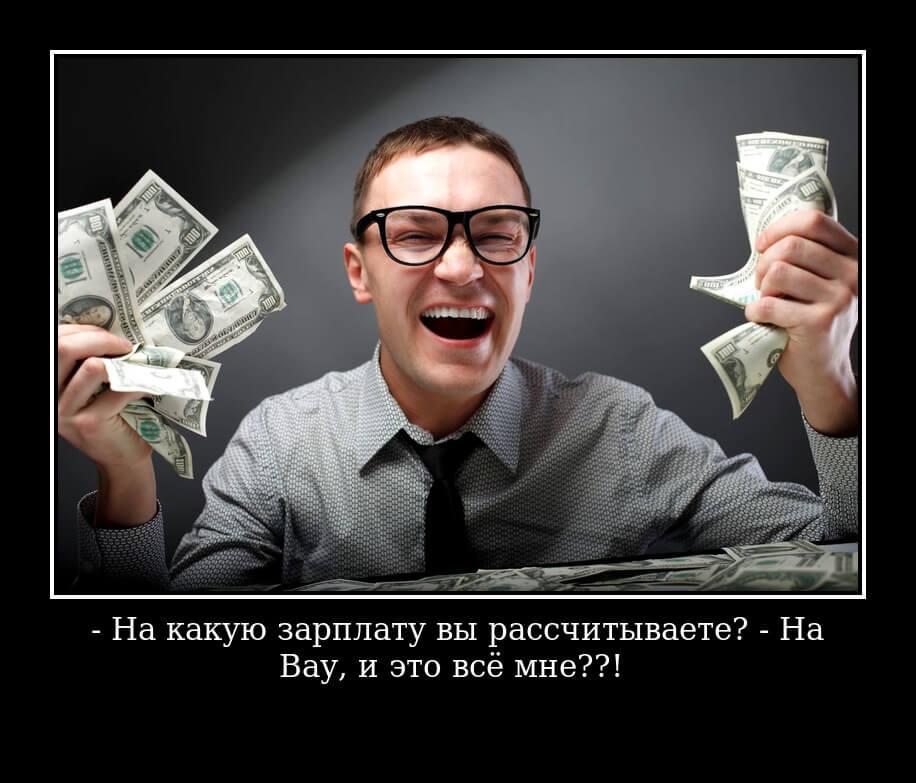 - На какую зарплату вы рассчитываете? - На «Вау, и это всё мне??!»