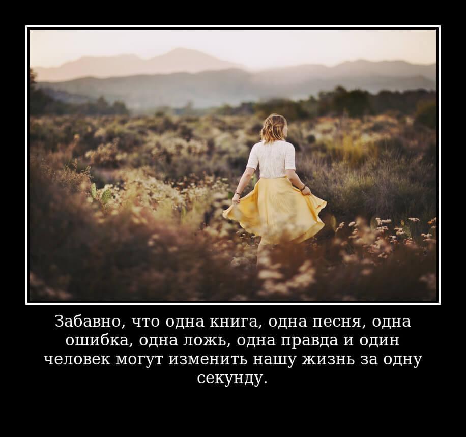 Забавно, что одна книга, одна песня, одна ошибка, одна ложь, одна правда и один человек могут изменить нашу жизнь за одну секунду.