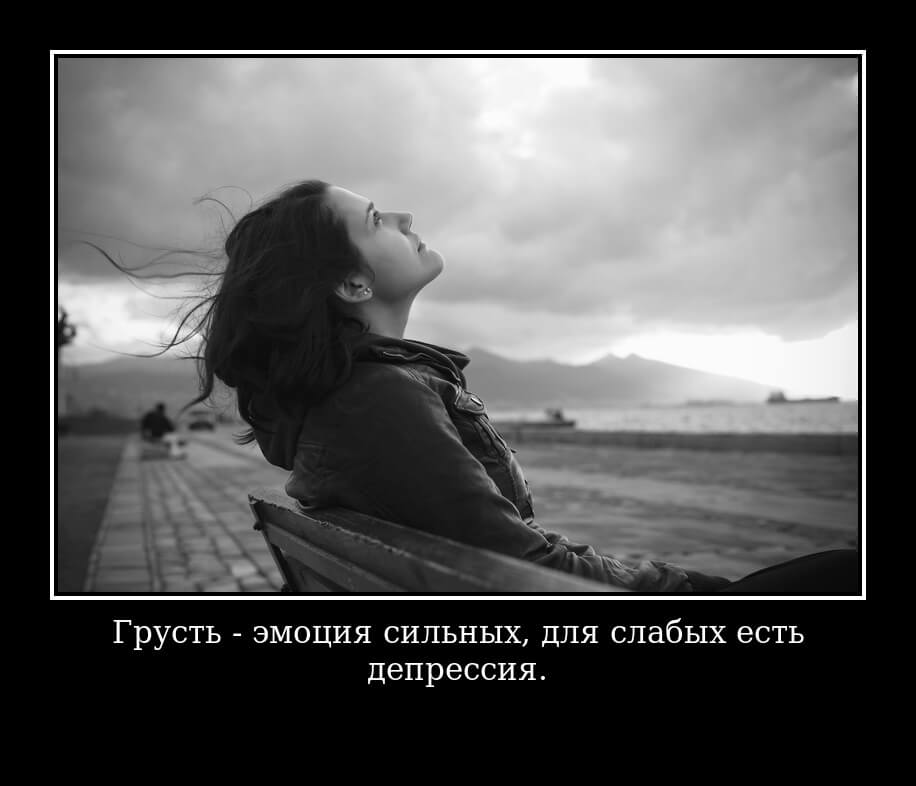 Грусть - эмоция сильных, для слабых есть депрессия.