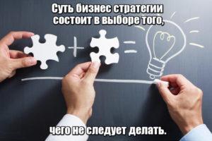 Суть бизнес стратегии состоит в выборе того, чего не следует делать.