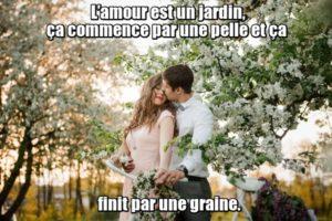 L'amour est un jardin, ça commence par une pelle et ça finit par une graine. - Любовь - это сад, начинающийся с лопаты и заканчивающийся семенами.