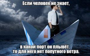 어느 항구를 향해 가는지 모른다면 어떤 바람도 순풍이 될 수 없다. - Если человек не знает, в какой порт он плывёт, то для него нет попутного ветра.
