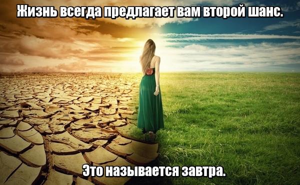 Жизнь всегда предлагает вам второй шанс. Это называется завтра.