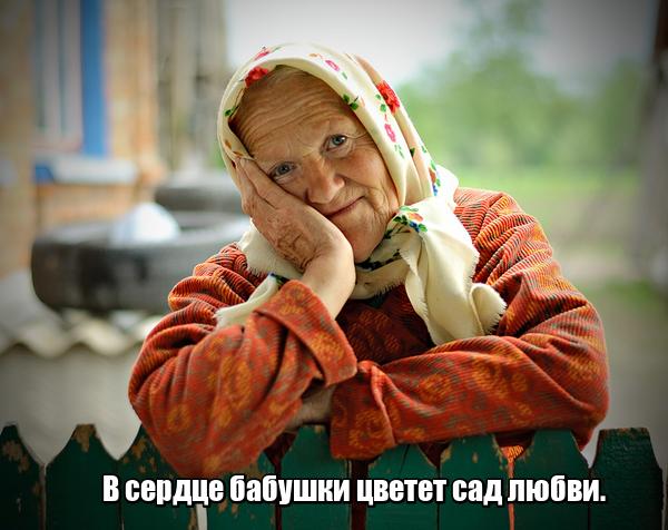В сердце бабушки цветет сад любви.