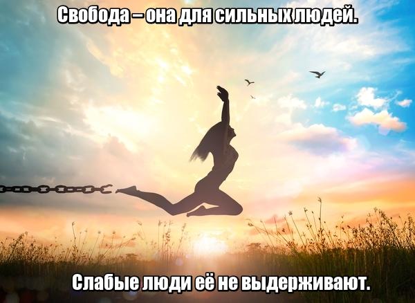 Свобода – она для сильных людей. Слабые люди её не выдерживают.
